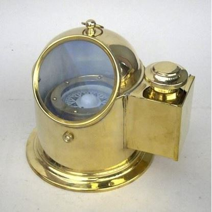 Brass Binnacle Compass With Oil Lamp