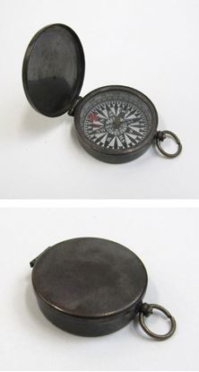 Antique Brass Pocket Compass With Lid Flue
