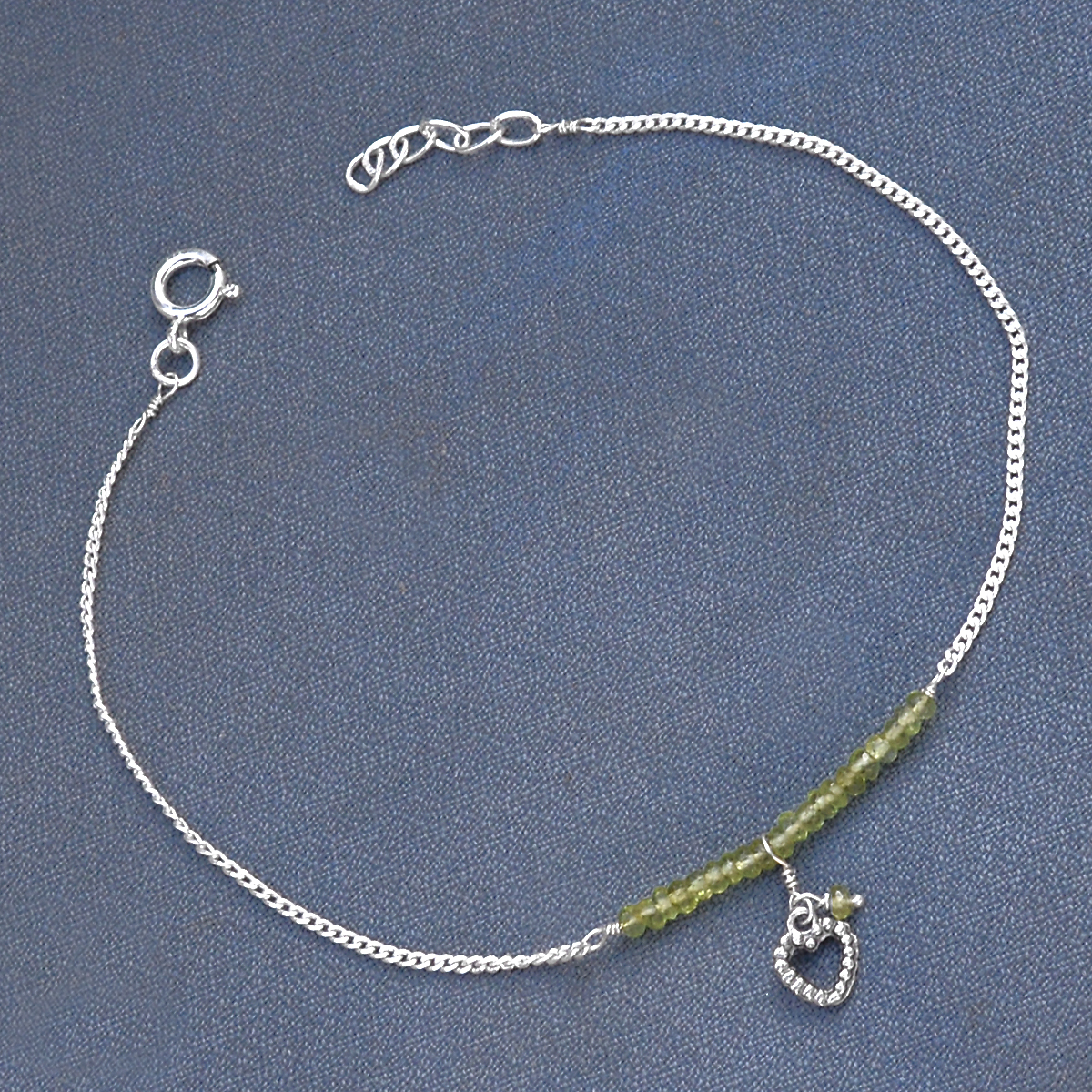Jaipur Rajasthan India 3 mm Peridot Gemstone 925 Sterling Silver Handmade Jewelry Manufacturer Single Piece Anklet