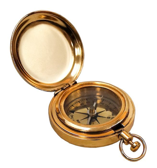 Gold Plated Pocket Compass