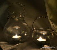 Clear Glass Hanging T Light Candle Holder