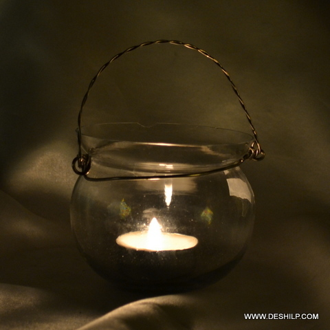 Clear Glass Hanging T Light Candle