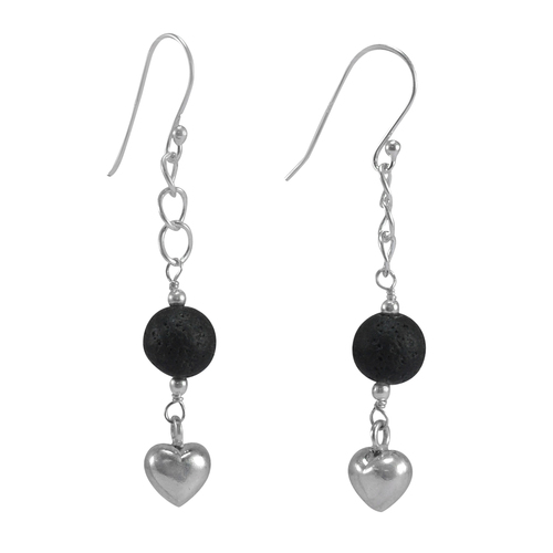 8 mm Round Black Lava Stone Gemstone Handmade Jewelry Manufacturer 925 Sterling silver Fish Hook Dangle Earring Jaipur Rajasthan India