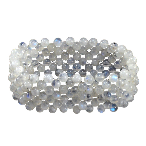 Handmade Jewelry Manufacturer 5 mm Round Rainbow Moonstone Gemstone Stretchable Bracelet Jaipur Rajasthan India