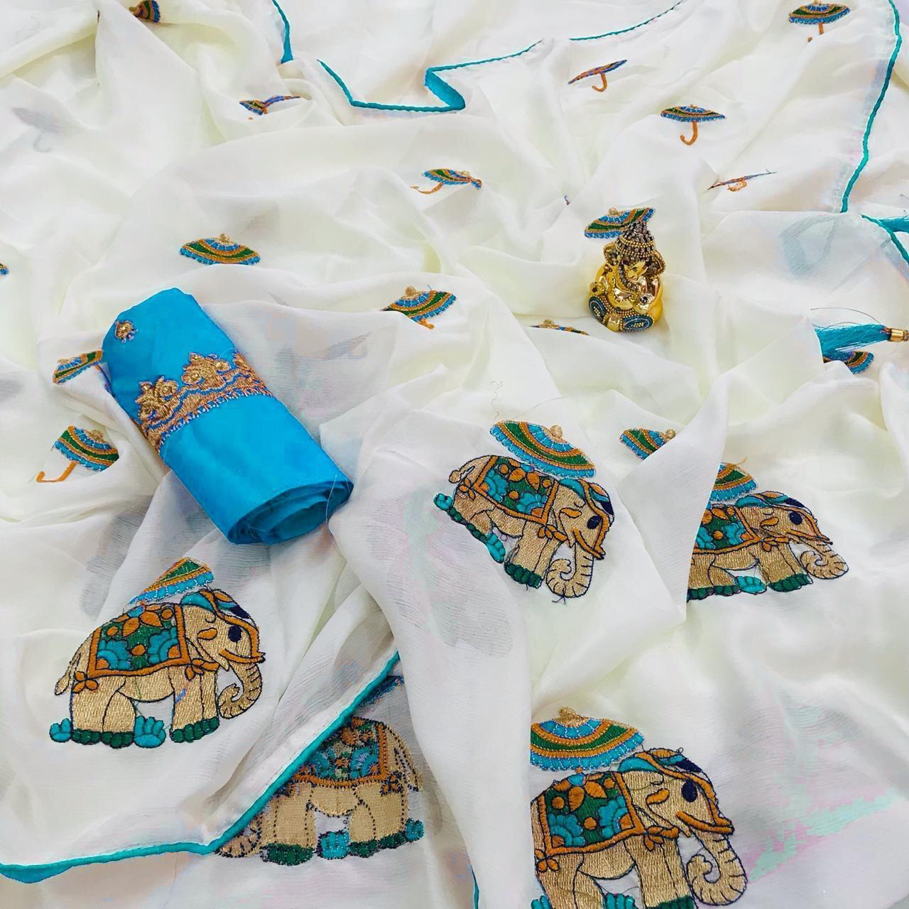 Designer Heavy Cotton Silk Saree, Partywear Saree