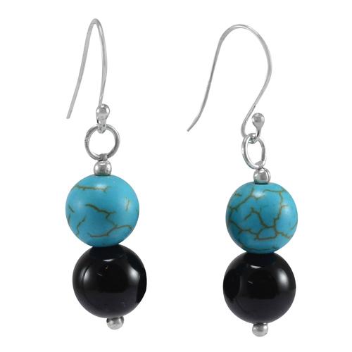 Handmade Jewelry Manufacturer Turquoise & Black Onyx Gemstone 925 Sterling Silver Jaipur Rajasthan India Fish Hook Dangle Earring