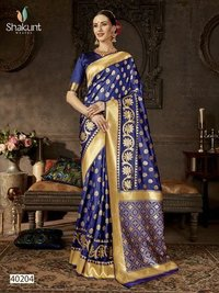 Heavy Bridal Silk Saree, Traditional Indian Saree