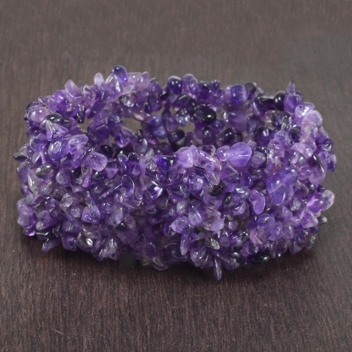 Handmade Jewelry Manufacturer Purple Amethyst Gemstone Chips Jaipur Rajasthan India Stretchable Bracelet