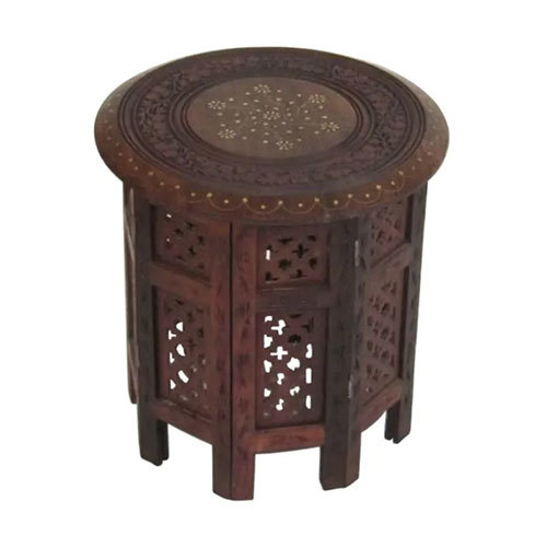 Carved Table Brass Inlay