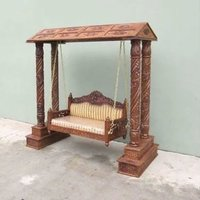Carved Wooden Jhoola Swing 4 Pillars With Canopy
