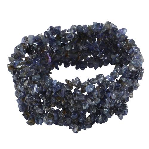Jaipur Rajasthan India Iolite Gemstone Chips Stretchable Bracelet Handmade Jewelry Manufacturer