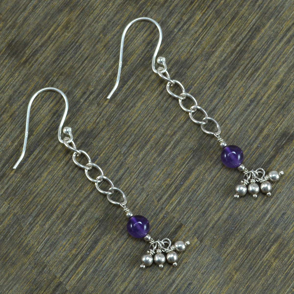 Round Amethyst Gemstone Handmade Jewelry Manufacturer 925 Sterling Silver Fish Hook Jaipur Rajasthan India Dangle Earring