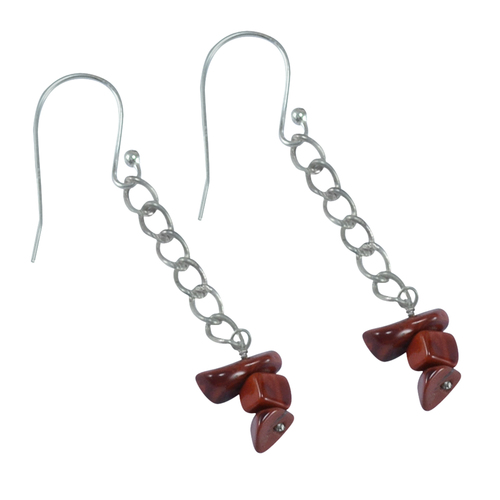 Handmade Jewelry Manufacturer Red Jasper Gemstone Chips 925 Sterling Silver Earring Jaipur Rajasthan India