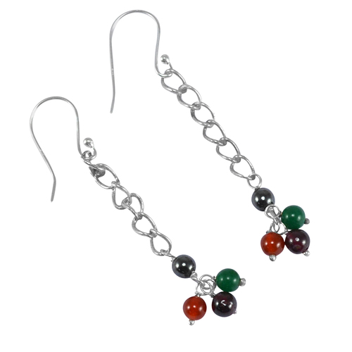 Green, Red Onyx, Hematite & Garnet Gemstone Jaipur Rajasthan India 925 Sterling Silver Handmade Jewelry Manufacturer Dangle Earring