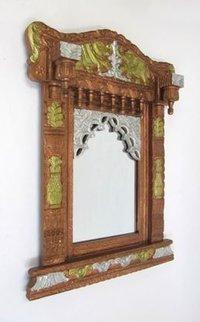 Wooden Jharokha Elephant Design Mirror