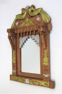 Wooden Jharokha Peacock Design Mirror