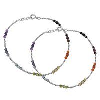 Handmade Jewelry Manufacturer 4 mm Round Multi Gemstone 925 Sterling Silver Anklet Jaipur Rajasthan India