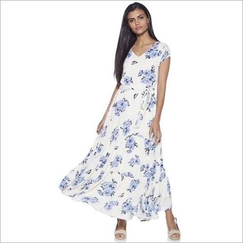 Ladies White Printed Dress