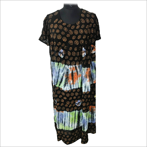 Ladies Round Neck Tie Dye maxi night beach Dress