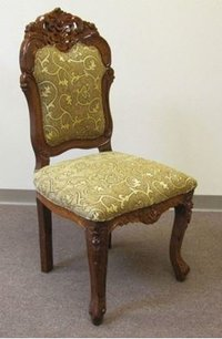 Carved Sheesham Wood Cushioned Chair