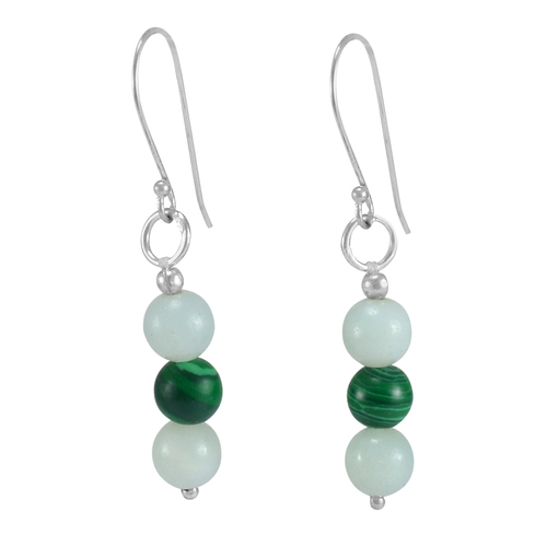 Jaipur Rajasthan India 5 mm Round Malachite & Blue Crystal Handmade Jewelry Manufacturer 925 Sterling Silver Earring