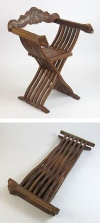 Carved Wooden Folding Medieval Chair