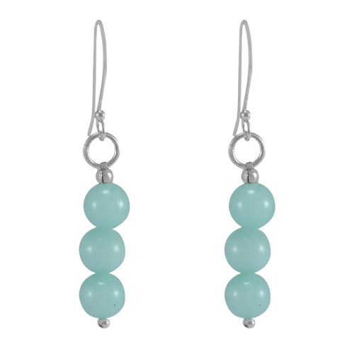 Amazonite 5 mm Round Beads Jaipur Rajasthan India 925 Sterling Silver Earring Handmade Jewelry Manufacturer