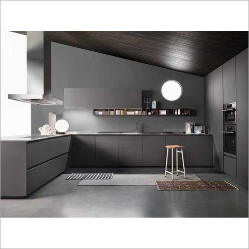 Customized MFC Gray Modern Simple Kitchen Cabinet Set