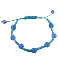 Blue Cord Handmade Jewelry Manufacturer 8 mm Round Blue Chalcedony Gemstone Jaipur Rajasthan India Adjustable Bracelet