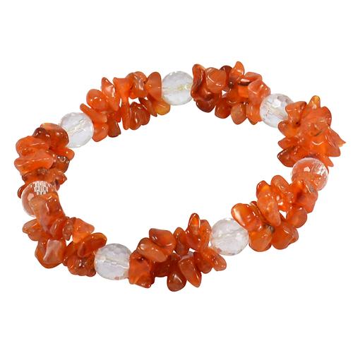 Handmade Jewelry Manufacturer Carnelian & Crystal Quartz Gemstone Stretchable Bracelet Jaipur Rajasthan India