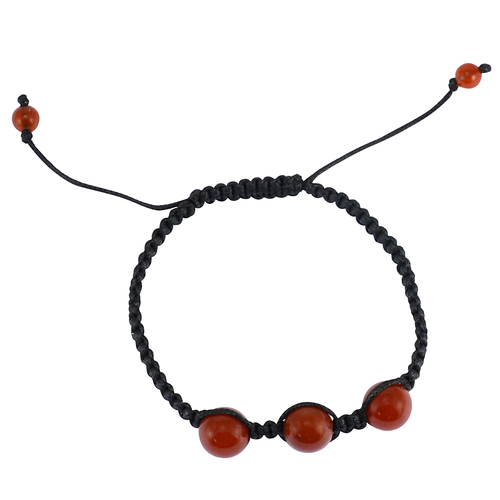 4 & 10 mm Round Handmade Jewelry Manufacturer Red Onyx Gemstone Adjustable Black Cord Bracelet Jaipur Rajasthan India