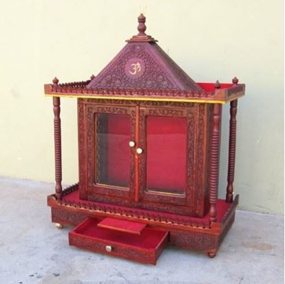 Large Wooden Temple Red Finish