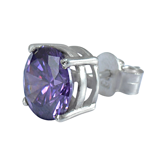 Round 10 mm Purple Cubic Zircon Jaipur Rajasthan India 925 Sterling Silver Stud Single Earring Handmade Jewelry Manufacturer