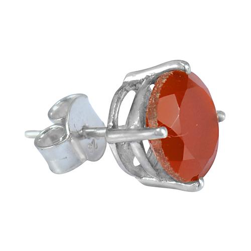 Orange Carnelian Round 10 mm Cut Handmade Jewelry Manufacturer 925 Sterling Silver Stud Earring Jaipur Rajasthan India