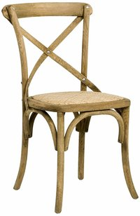 Crossback Chair, Modway Gear Modern Farmhouse Cross Back Solid Mango Wood Dining Side Chair With Rattan Seat In Gray