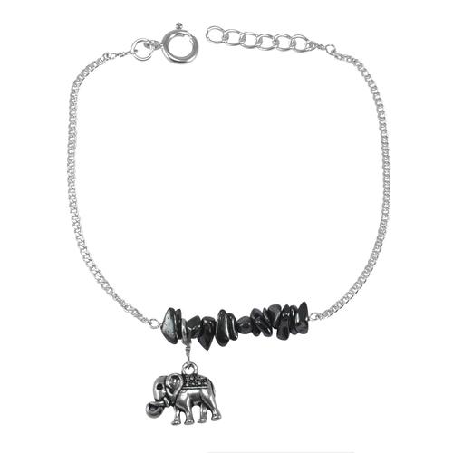 Hematite Gemstone Chips Jaipur Rajasthan India 925 Sterling Silver Bracelet Handmade Jewelry Manufacturer