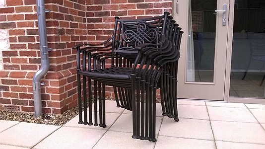2 Knot Chairs Bronze,High Back Cush, Cafe Chairs, Bistro Chairs.
