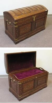 Solid Wooden Trunk Brass Inlay