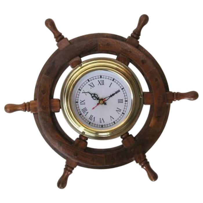 Ship Wheel Clock 12 Inch