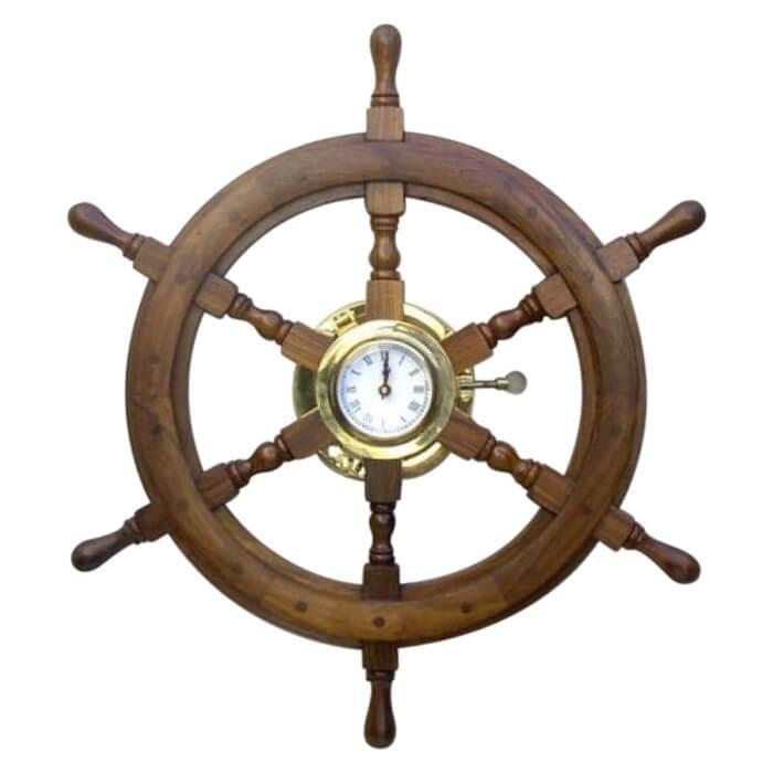 Wooden Sand Timer Ship Wheel