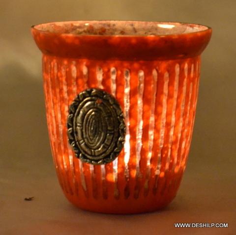 Orange Color Antique Candle Holder
