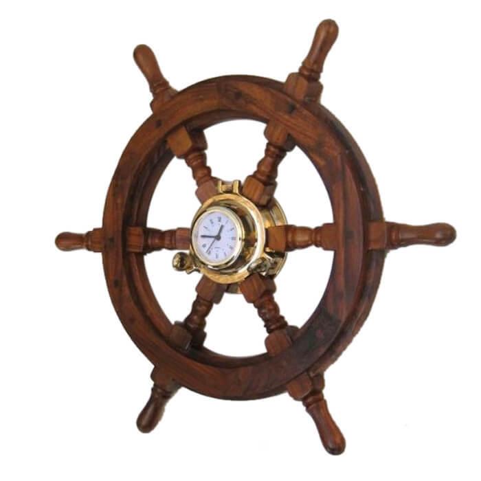 Wooden Ship Wheel Porthole Clock 24 Inch