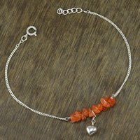 Carnelian Gemstone Jaipur Rajasthan India 925 Sterling Silver Single Piece Anklet Handmade Jewelry Manufacturer