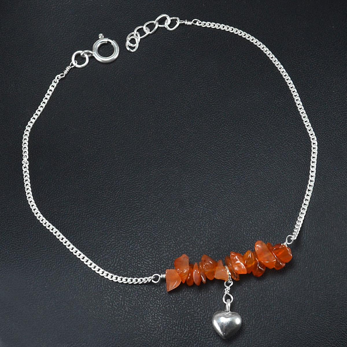 Carnelian Gemstone Jaipur Rajasthan India 925 Sterling Silver Single Piece Anklet Handmade Jewelry Manufacturer