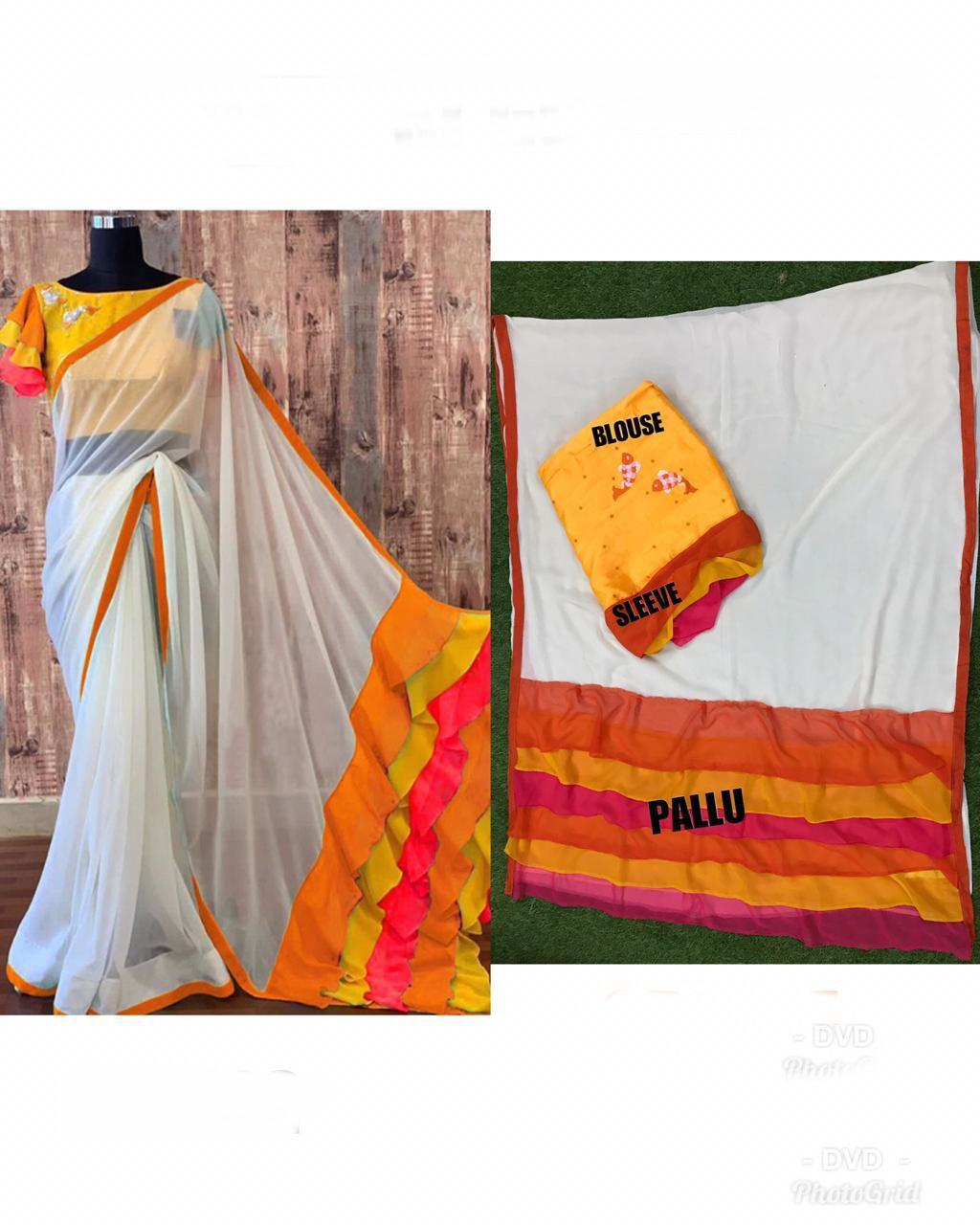 Designer Frill Chanderi Saree With Embroidery Work