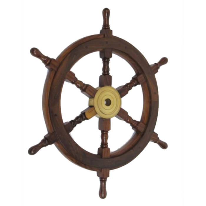Wooden Ship Wheel With Brass Center 24 Inch