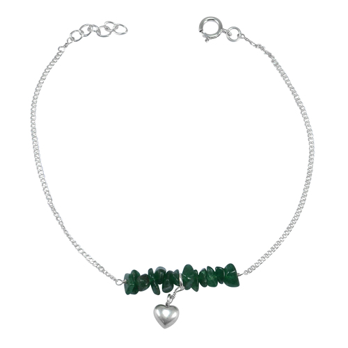 Handmade Jewelry Manufacturer Green Aventurine Gemstone 925 Sterling Silver Single Piece Anklet Jaipur Rajasthan India