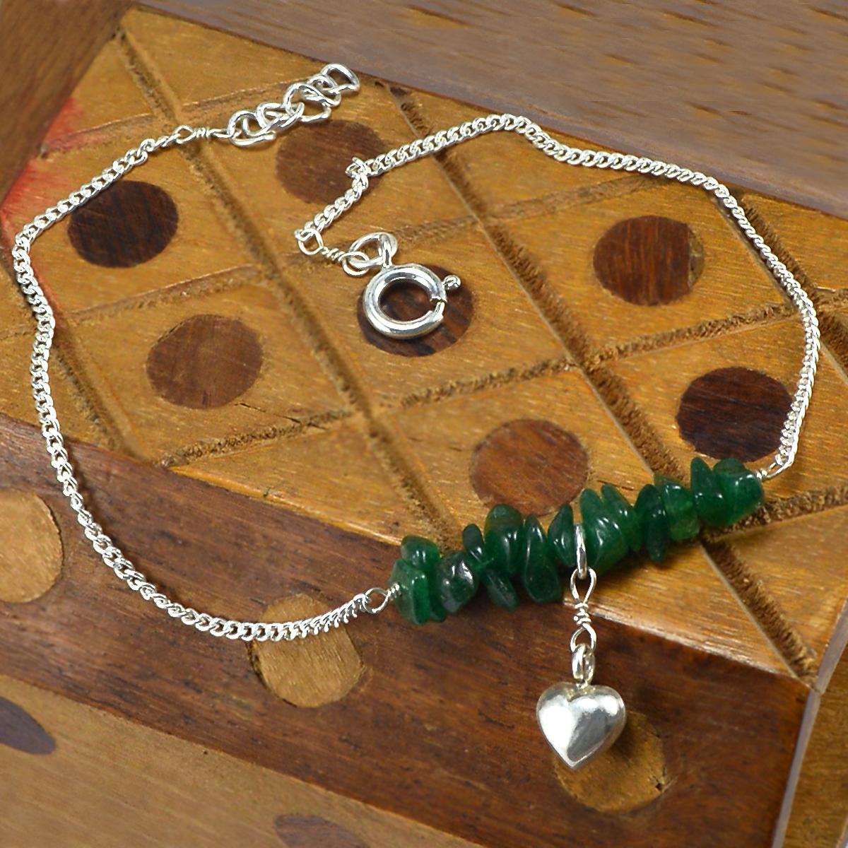 Handmade Jewelry Manufacturer Green Aventurine Gemstone 925 Sterling Silver Single Piece Anklet Jaipur Rajasthan India