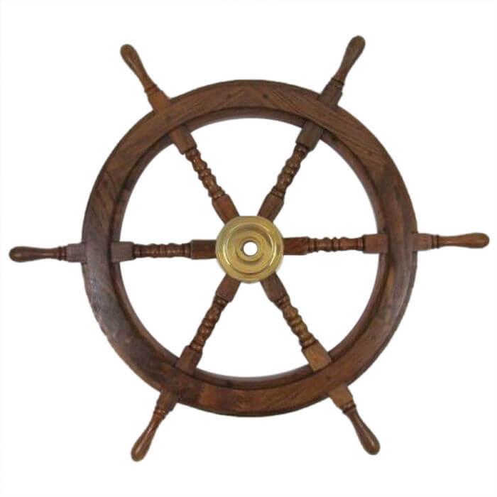 Wooden Brass Ship Wheel 30 Inch