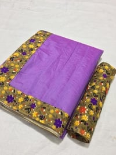Beautiful Plain Chanderi Saree with Digital Printed Border/Lace